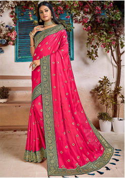 Pink Color Soft Silk Designer Saree