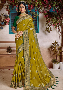 Green Color Soft Silk Designer Saree