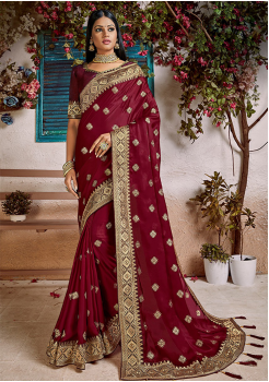 Maroon Color Soft Silk Designer Saree