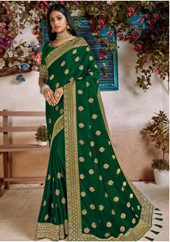 Dark Green Color Soft Silk Designer Saree
