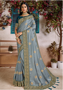 Grey Color Soft Silk Designer Saree
