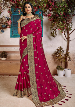 Rose Pink Color Soft Silk Designer Saree
