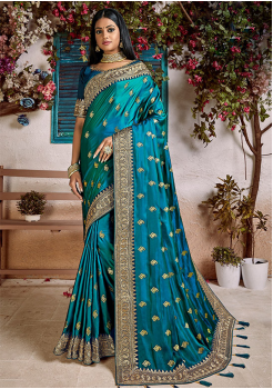 Aqua  Blue Color Soft Silk Designer Saree