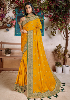 Yellow Color Soft Silk Designer Saree