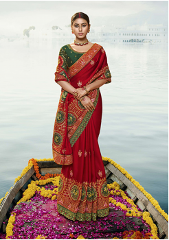 Red With Green Color Silk Designer Saree