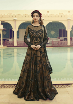 Black With Beige Color Net And Satin Fabric Party Wear Gown
