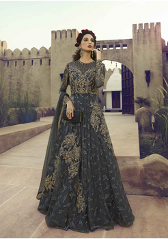 Charcoal Grey Color Net And Santoon Fabric Party Wear Gown