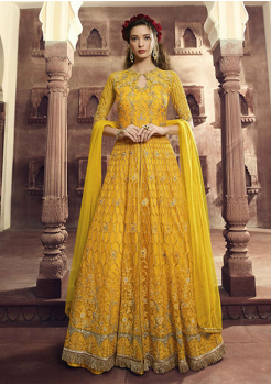 Yellow Color Net Party Wear Gown