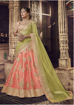 Light Pink With Light Green Color Net Lehenga Choli
