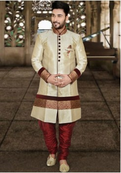 CREAM COLOUR INDO WESTERN SHERWANI