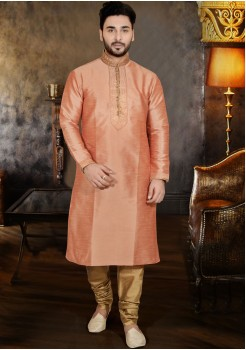 ORANGE COLOUR MENS KURTA SET