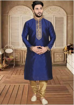 DARK BLUE MENS KURTA SET