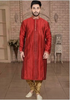 RED MENS KURTA SET