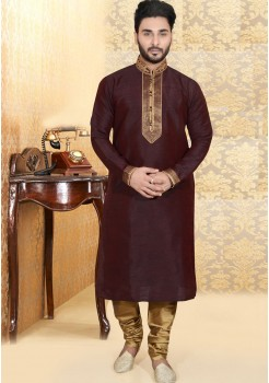 BROWN MENS KURTA SET