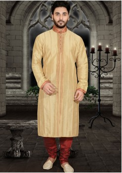 LIGHT YELLOW MENS KURTA SET