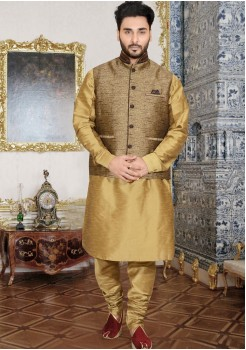 GOLD MENS KURTA JACKET SET