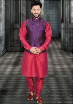 RED AND PURPLE MENS KURTA JACKET SET
