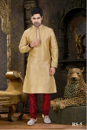 Cream Gold Mens Kurta Set