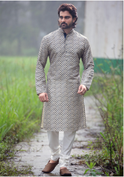 Roman Silver Color Poly Digital Print And Poly Fabric Kurta Set