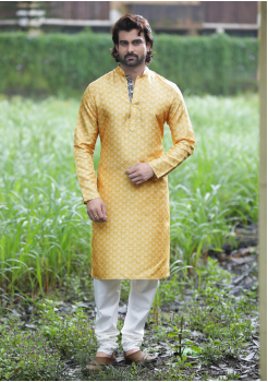 Yellow Color Poly Digital Print And Poly Fabric Kurta Set