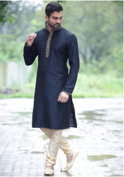 Black Color Dupion Silk And Art Silk Fabric Kurta Set