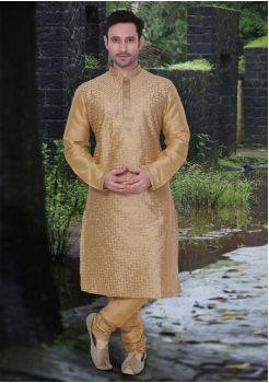 Gold Color Dupion And Art Silk Fabric Kurta Set