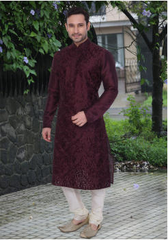 Puce Red Color Dupion And Art Silk Fabric Kurta Set