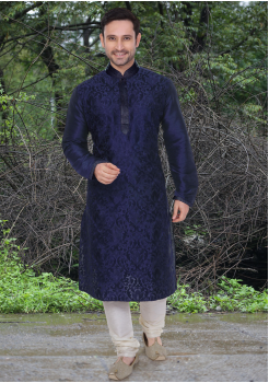 Blue Color Dupion And Art Silk Fabric Kurta Set