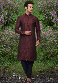 Puce Red Color Jaquard And Art Silk Fabric Kurta Set