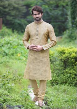 Gold Color Jacquard And Art Silk Fabric Kurta Set