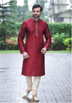 Red Color Dupion And Art Silk Fabric Kurta Set