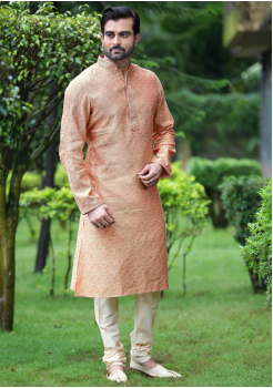 Pink Color Jacquard And Art Silk Fabric Kurta Set