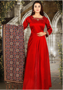 Red Color Art Silk Designer Gown