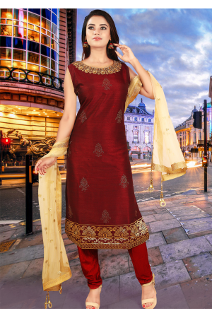 Deep Red With Gold Color Art Silk Straight Cut Chudidar
