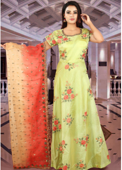 Lime Green Color Art Silk Designer Gown