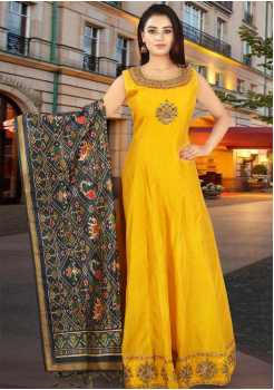 Yellow with Dark Green Color Chanderi Silk Designer Gown