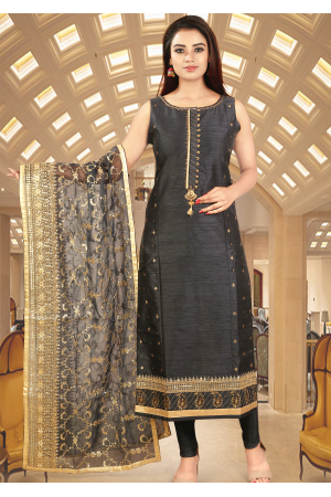 Bluish Grey Color Art Silk Straight Cut Chudidar