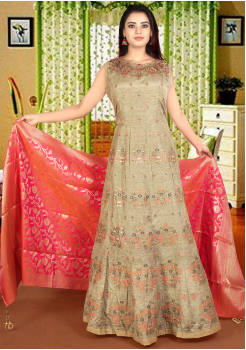 Olive Green with Gold Pink Color Art Silk Designer Gown