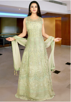 Designer Light Green  Gown