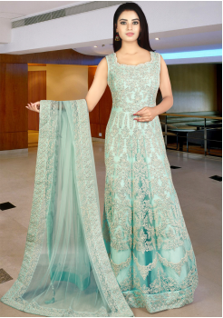 Designer Sky Blue Color Gown