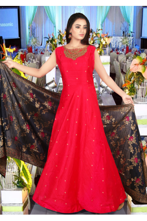 Reddish Pink  With Dark Navy Blue Color Art Silk Designer Gown