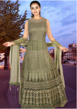 Soldier Green Color Net  Designer Gown
