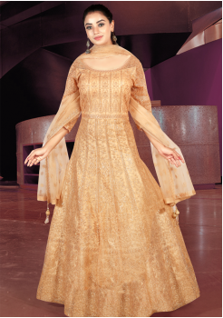 Peach Color Art Silk Designer Gown