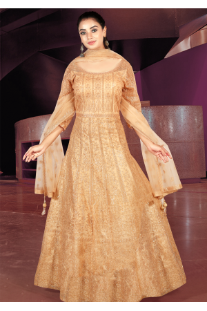 Gold Peach Color Art Silk Designer Gown