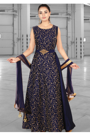 Navy Blue Color Art Silk Designer Gown