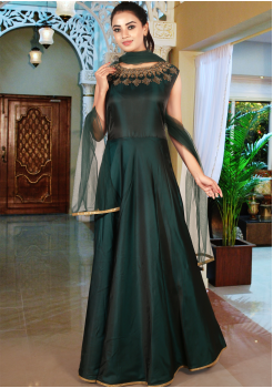 Dark Green Color Art Silk Designer Gown