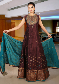 Brown With Myrtle Green Color Art Silk Designer Gown