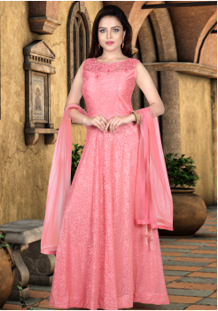 Pink Color Heavy Net  Designer Gown