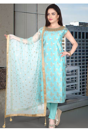Sea Blue Art Silk Straight Cut Chudidar