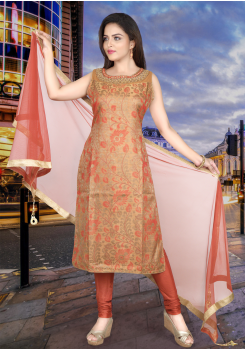 Rust Orange Brown Art Silk Straight Cut Chudidar